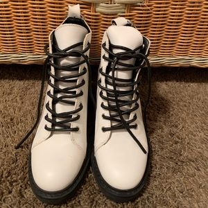 Dolce Vita lace up white booties